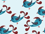 Vector Seamless Pattern with Watercolor Birds