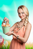 lovely spring woman with easter eggs