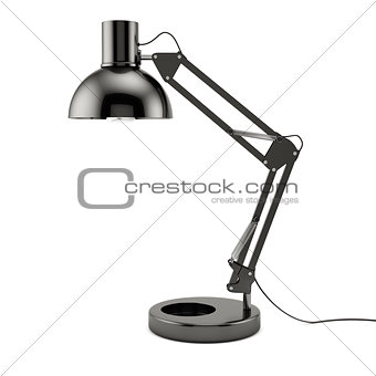 Black table lamp isolated