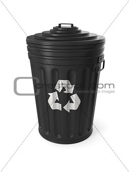 Black trash can isolated