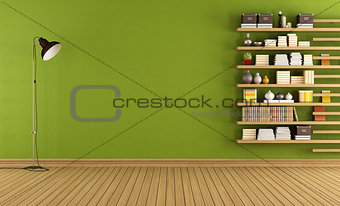 Green room with bookcase