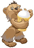 Brown bear holding white ice cream cone