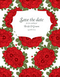 Save the date wedding invite card template with red flowers