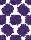 Pattern with drawing violet flowers