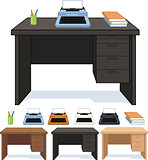 Wood desk with typewriter set of illustrations