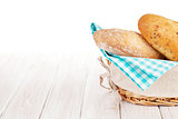Fresh french bread in basket