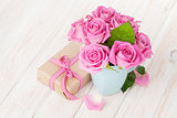 Valentines day pink roses bouquet and gift box