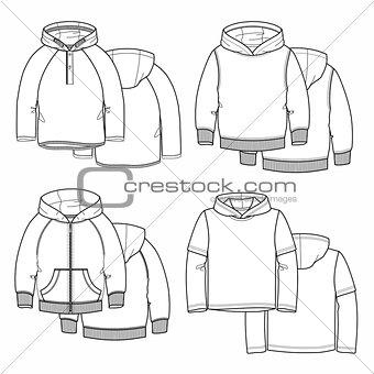 Four hoodies