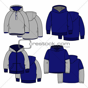 Four hoodies
