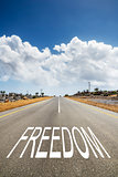 road with text FREEDOM