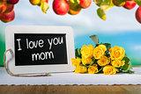 slate blackboard love mum and roses