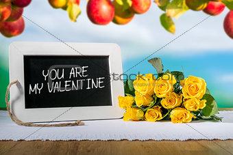 slate blackboard valentine and roses