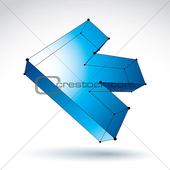 3d mesh trendy colorful backward arrow isolated on white backgro