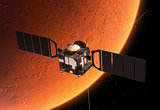 Interplanetary Space Station Orbiting Planet Mars