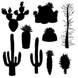 silhouette vector, cactus and tree