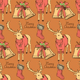 Sketch fancy reindeer in vintage style with bell and stocking