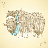Sketch fancy yak in vintage style