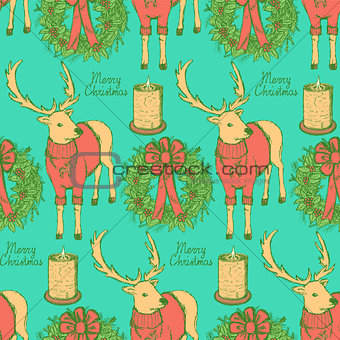 Sketch fancy reindeer with candle and wreath in vintage style