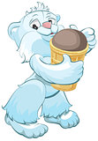 White bear holding chocolate ice cream cone