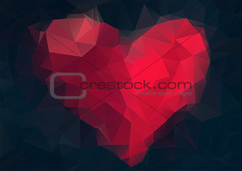 Abstract heart-shaped banner with copyspace