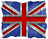 UK Flag on Wrinkled Paper with Nails