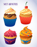 Cupcake . Sweets and pastries for your bakery menu design. Delicious yummy vector cupcakes with icing,  chips, berries
