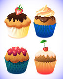 cupcake pack. Chocolate and vanilla icing cupcakes. Strawberry, cherry, cream