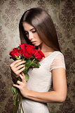 Romantic woman with roses
