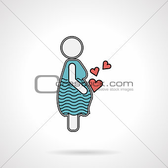 Pregnant woman flat vector icon