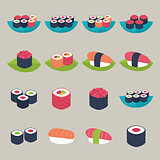 Sushi set over beige