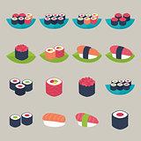Sushi set over beige