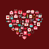 Heart shaped valentine day flat style icons