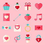 Valentine day flat icon set over light pink