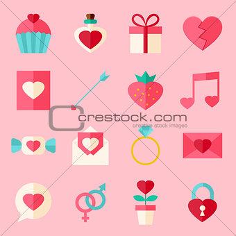 Valentine day flat icon set over light pink