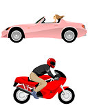 Cabriolet and motorcycle