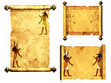 Set of scrolls with Egyptian gods images - Anubis and Horus