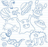 Vector set of aliens