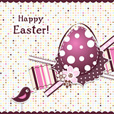 Template Easter greeting card, ribbon, vector