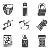 Black icons vector collection for paintball