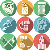Flat colored icons vector collection for paintball