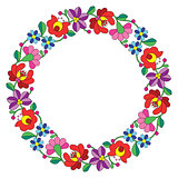 Kalocsai embroidery in circle - Hungarian floral folk pattern
