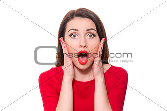 Adorable woman with red lipstick standing in awe looking at came