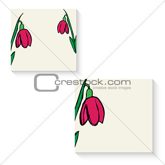 business cards with flowers