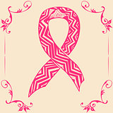 pink ribbon. Doodle style
