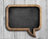 old chalkboard in shape of speech bubble on white wood