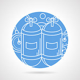 Round blue vector icon for aqualung