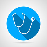 Medical stethoscope flat round vector icon