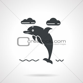 Black silhouette vector icon for dolphin