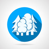 Round blue vector icon for forest