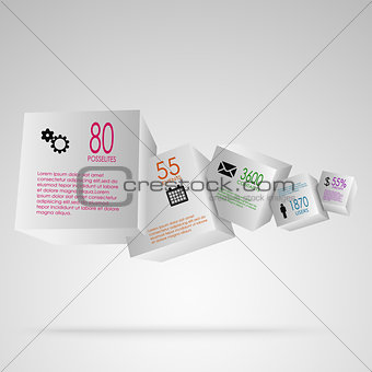 Abstract info graphic with white cubes